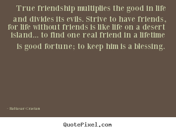 Create your own picture sayings about friendship - True friendship multiplies the good in life and divides its evils...