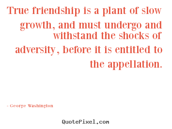 Make picture quotes about friendship - True friendship is a plant of slow growth, and must undergo..