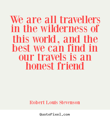 Friendship quotes - We are all travellers in the wilderness of..