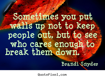 Design your own picture quotes about friendship - Sometimes you put walls up not to keep people..