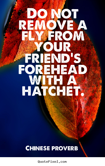 Chinese Proverb picture quotes - Do not remove a fly from your friend's forehead with a hatchet. - Friendship quote