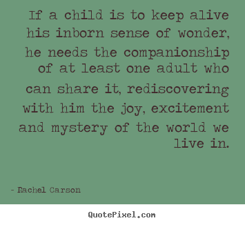Rachel Carson picture quotes - If a child is to keep alive his inborn sense of wonder,.. - Friendship quote