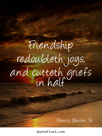 How to make picture quotes about friendship - Friendship redoubleth joys, and cutteth griefs..