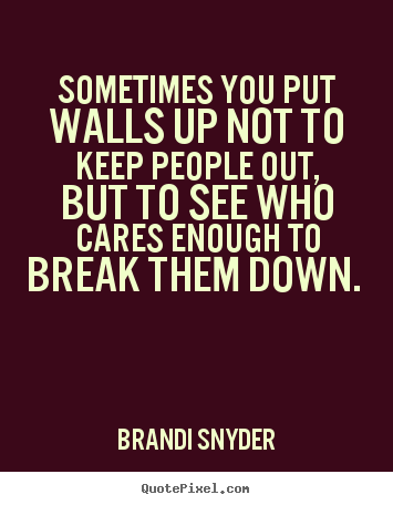 Quotes about friendship - Sometimes you put walls up not to keep people out, but to..