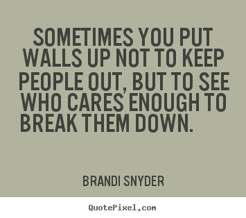 Quotes about friendship - Sometimes you put walls up not to keep people..