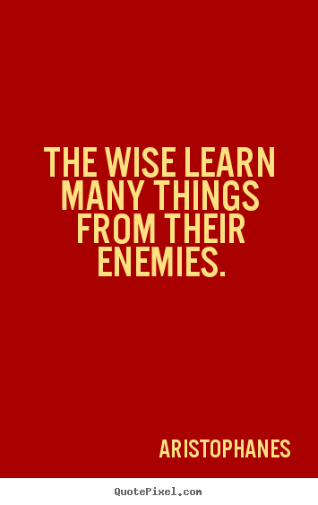 Design your own image quote about inspirational - The wise learn many things from their enemies.