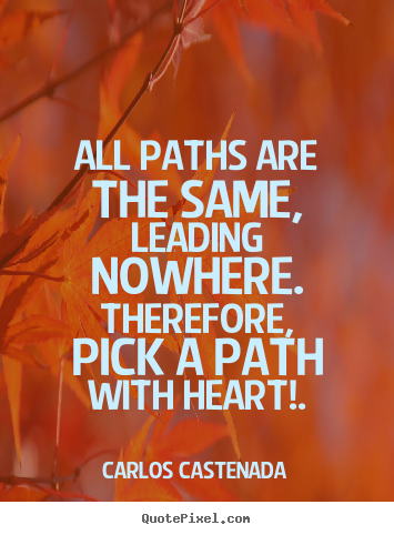 Inspirational quotes - All paths are the same, leading nowhere. therefore, pick a path with..