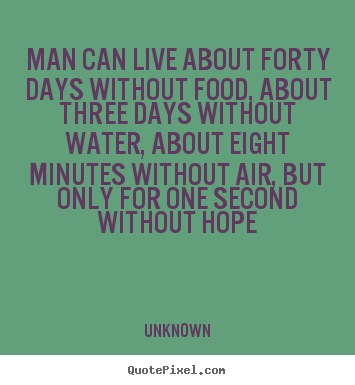 Quotes about inspirational - Man can live about forty days without food, about three days..