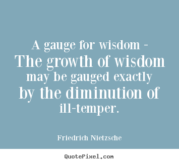 Inspirational quote - A gauge for wisdom - the growth of wisdom may be gauged..