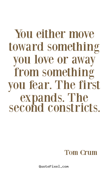 Inspirational quotes - You either move toward something you love or away from..