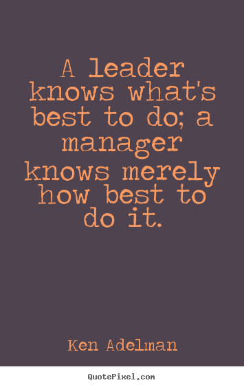 Make poster quotes about inspirational - A leader knows what's best to do; a manager..