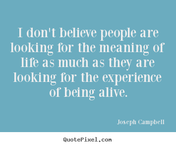 Life quote - I don't believe people are looking for the meaning of life..