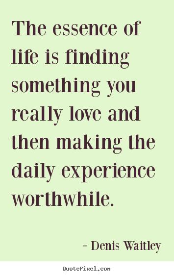 Denis Waitley picture quotes - The essence of life is finding something you really.. - Life quotes
