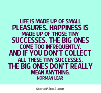 Life is made up of small pleasures. happiness is made.. Norman Lear popular life quotes