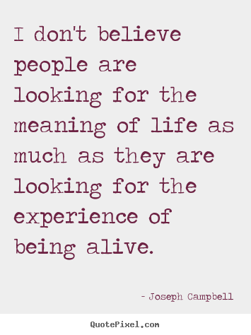 Quote about life - I don't believe people are looking for the meaning of life..