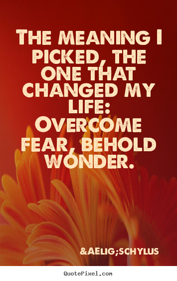 Life quote - The meaning i picked, the one that changed my..
