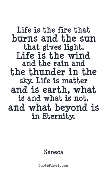 Seneca picture quotes - Life is the fire that burns and the sun that gives light... - Life quote
