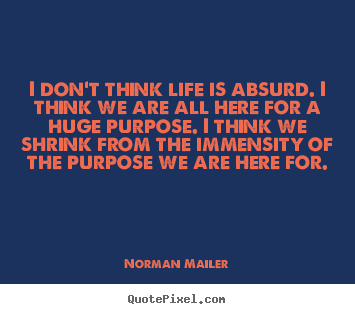 I don't think life is absurd. i think we are all here for.. Norman Mailer  life quotes