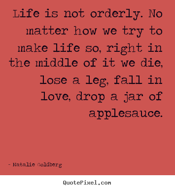 Natalie Goldberg photo quote - Life is not orderly. no matter how we try.. - Life quotes