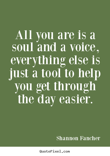Quotes about life - All you are is a soul and a voice, everything else..