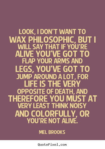 Look, i don't want to wax philosophic, but i will say.. Mel Brooks good life quotes