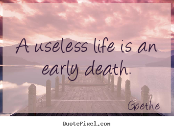 A useless life is an early death. Goethe  life quote