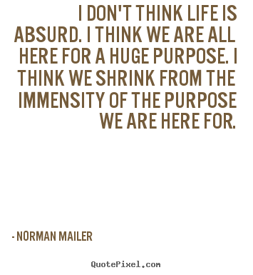I don't think life is absurd. i think we are all here for a huge.. Norman Mailer top life quote