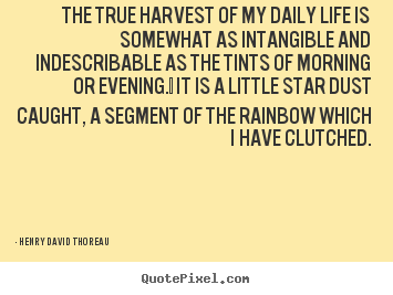 The true harvest of my daily life is somewhat as intangible and indescribable.. Henry David Thoreau great life sayings