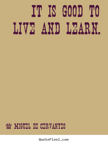 It is good to live and learn. Miguel De Cervantes best life quotes