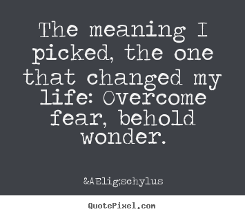 Life quotes - The meaning i picked, the one that changed my life: overcome fear, behold..