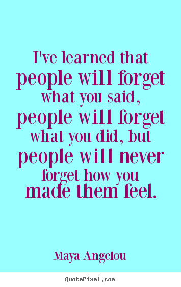 Love quotes - I've learned that people will forget what..