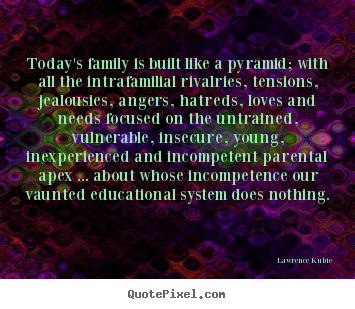 Create graphic photo quote about love - Today's family is built like a pyramid; with all the intrafamilial..