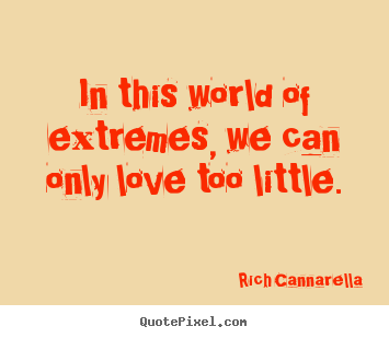 Love quote - In this world of extremes, we can only love too little.