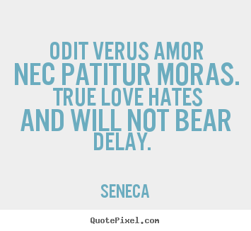 Odit verus amor nec patitur moras. true love hates and will.. Seneca top love quotes