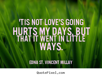 Quote about love - 'tis not love's going hurts my days, but that..