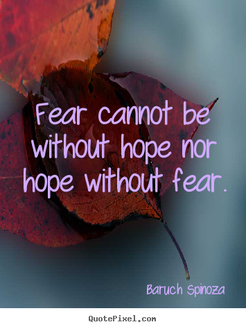 How to design picture quotes about motivational - Fear cannot be without hope nor hope without..