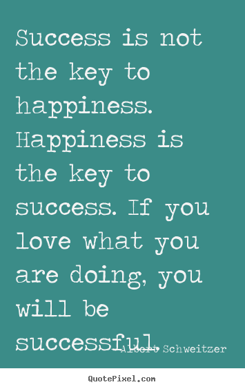 Customize photo quotes about success - Success is not the key to happiness. happiness..
