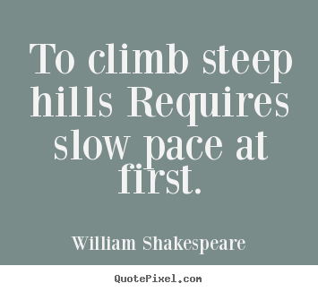 How to make picture quotes about success - To climb steep hills requires slow pace..