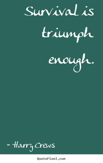 Survival is triumph enough. Harry Crews  success quotes