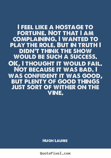 Hugh Laurie picture quotes - I feel like a hostage to fortune. not that i am complaining... - Success quotes