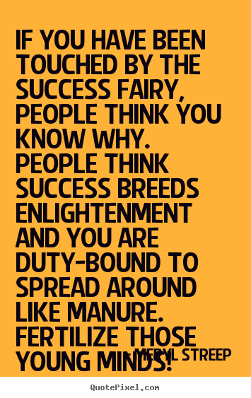 Meryl Streep picture quotes - If you have been touched by the success fairy,.. - Success quotes