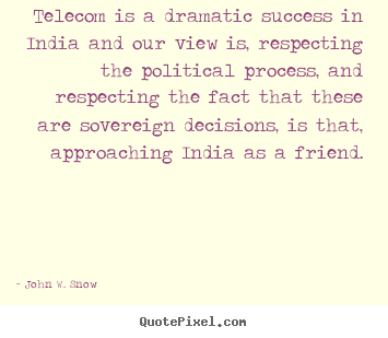 Create graphic picture quote about success - Telecom is a dramatic success in india and our view is, respecting..