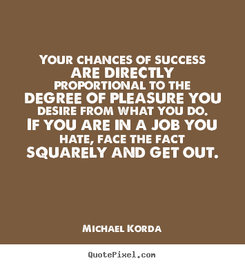 Create your own picture quotes about success - Your chances of success are directly proportional to the degree of pleasure..