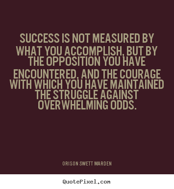 Orison Swett Marden poster quote - Success is not measured by what you accomplish, but by the.. - Success quotes