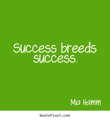 Success breeds success. Mia Hamm  success quotes