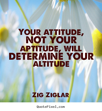 Zig Ziglar poster quotes - Your attitude, not your aptitude, will determine.. - Success quote