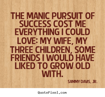 Make pictures sayings about success - The manic pursuit of success cost me everything i could love:..
