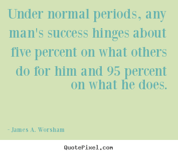 Design picture quote about success - Under normal periods, any man's success hinges about five percent..