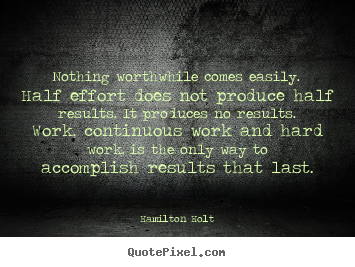 Hamilton Holt picture quotes - Nothing worthwhile comes easily. half effort does not produce half.. - Success quotes