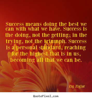 Quote about success - Success means doing the best we can with what we have. success..